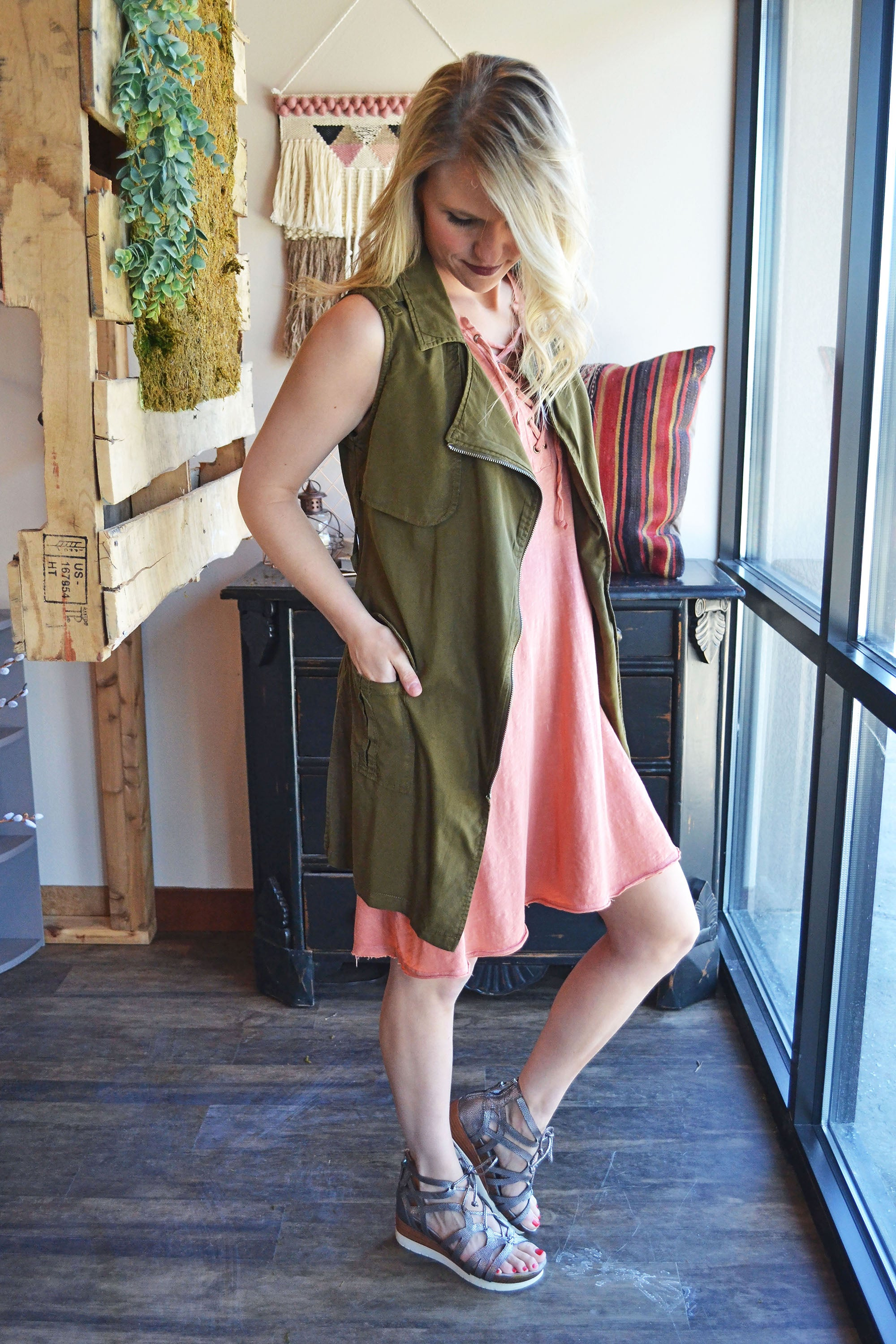 Garden Green Trench Zip-Up Vest