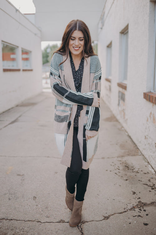 Mauve/Black Checkered Cozy Cardigan