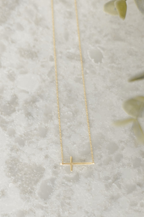 Brass Gold Cross Necklace