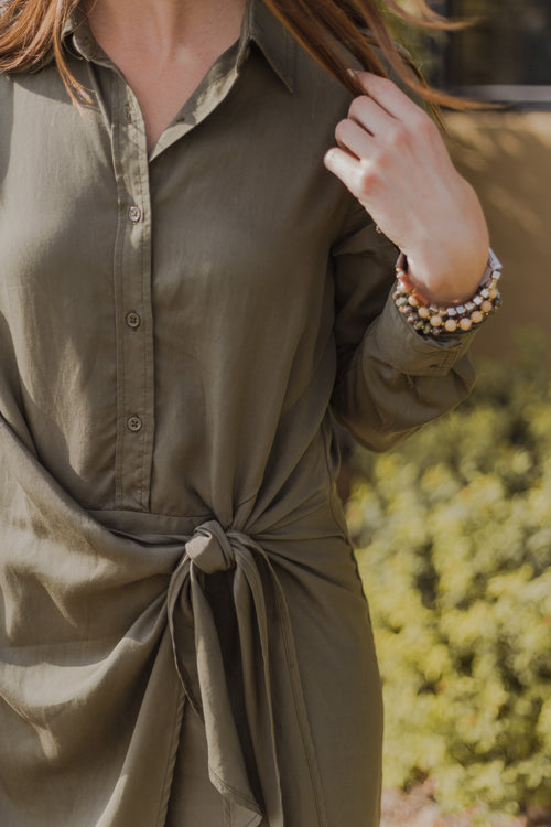 Khaki Wash Dress with Front Knot Tie