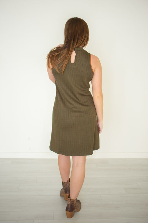 Olive Mock Stripe Dress