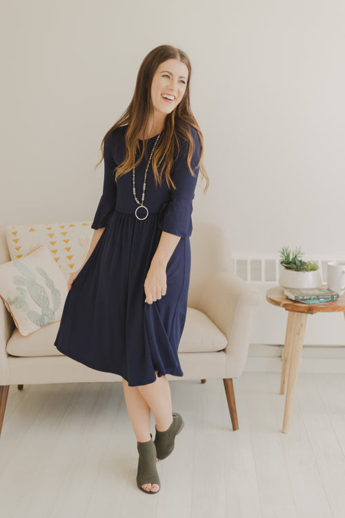 Naomi Navy Ruffle Sleeve Dress