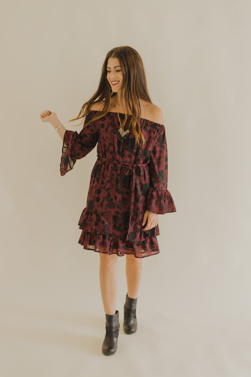 Wine/Black Floral Bell Sleeve Dress