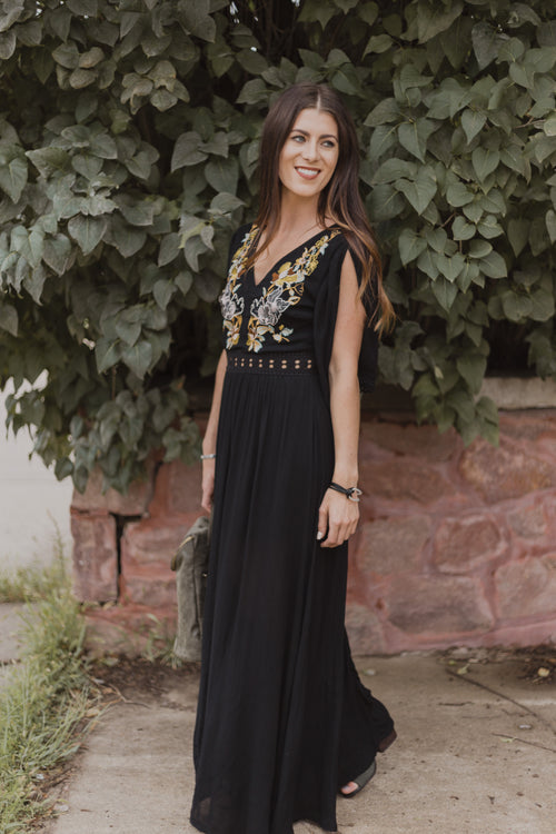 Black/Marigold Embroidered Maxi Dress