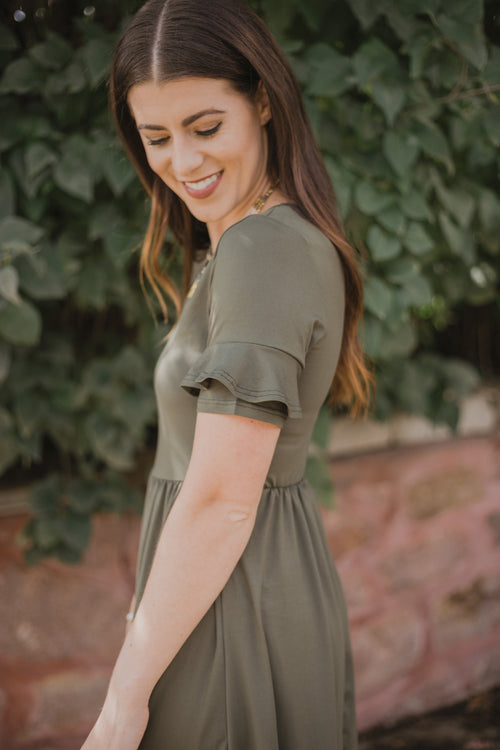 Nessa Olive Ruffle Sleeve Dress