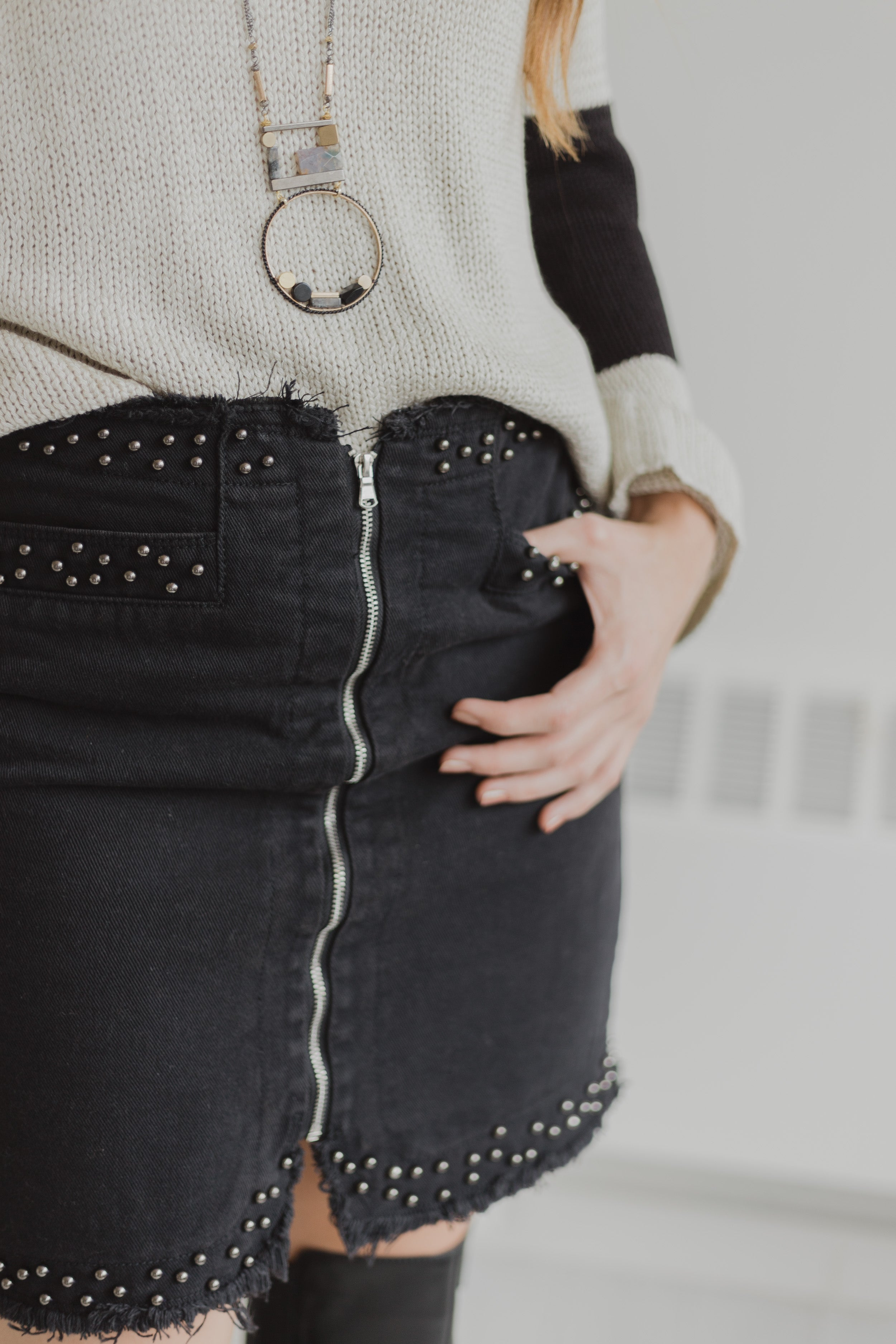 Gotham Studded Black Skirt