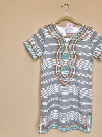Stripe Embroidery Shift Dress