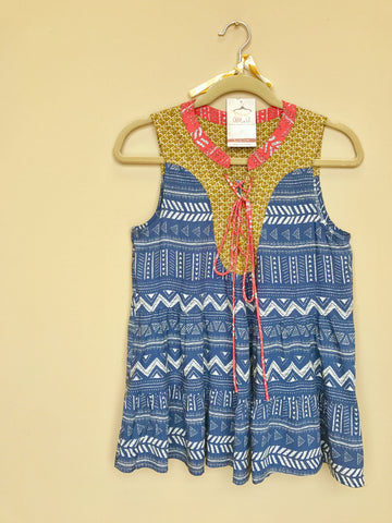 Blue Sleeveless Mixed Print Top