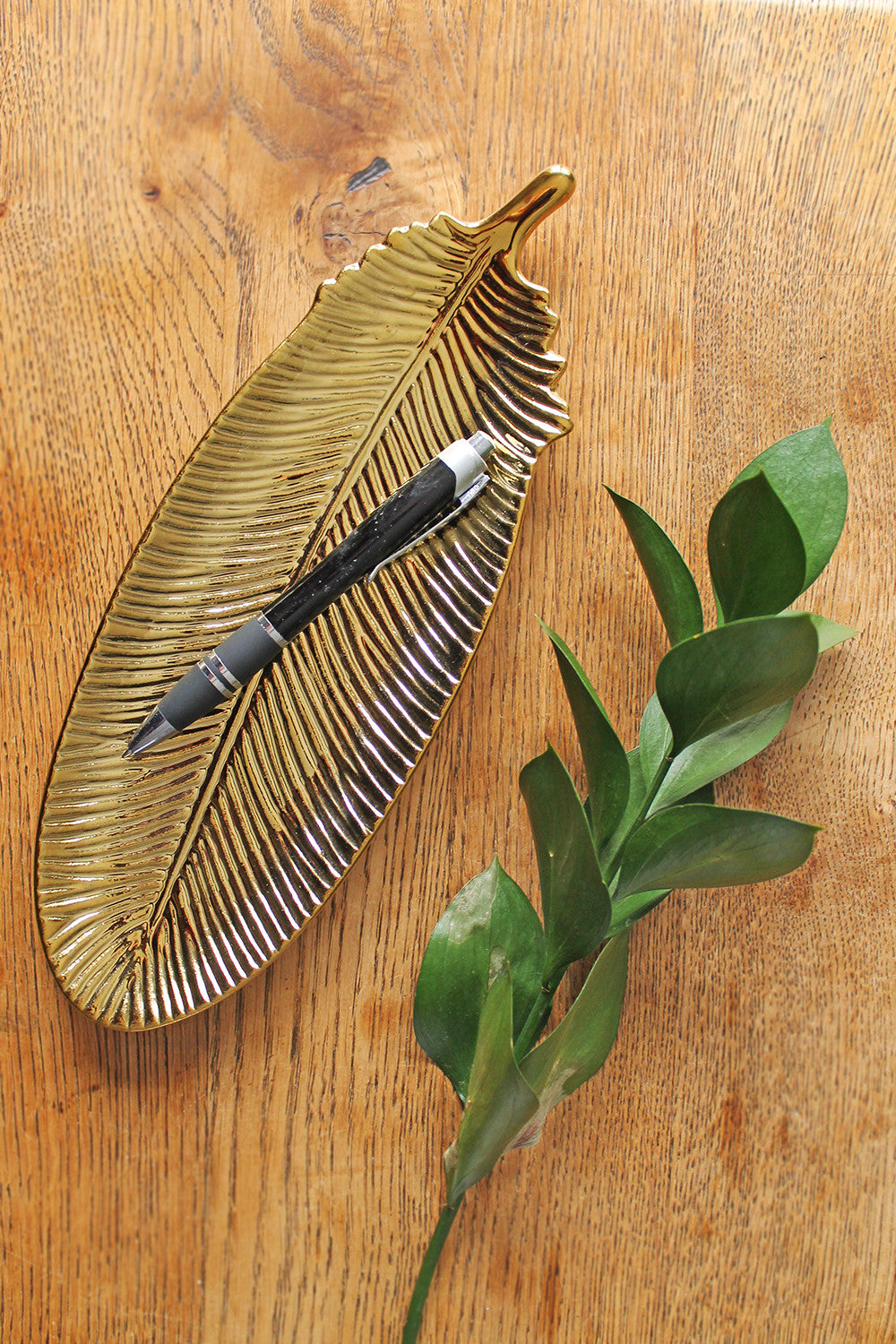 Gold Ceramic Feather Tray