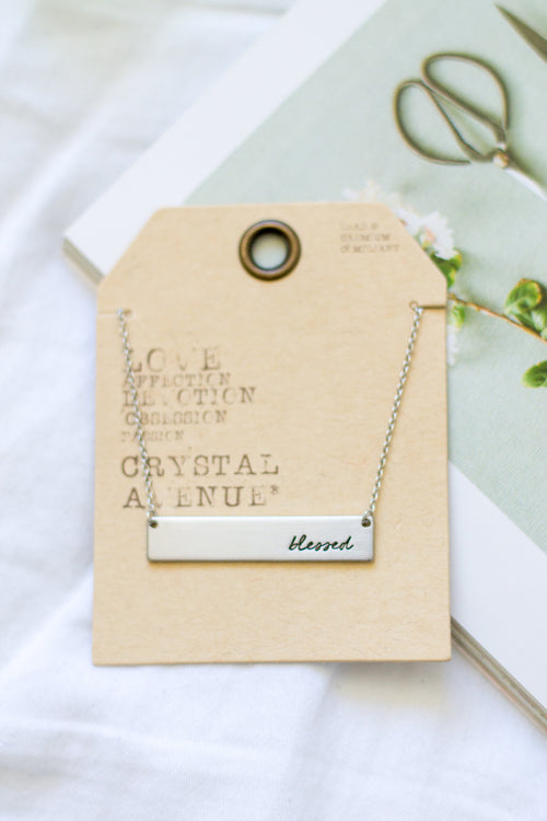 Silver 'Blessed' Bar Necklace
