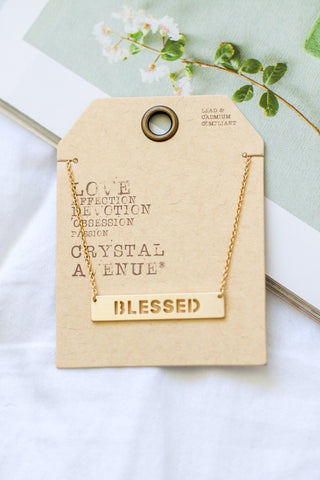 Gold 'Trust in the Lord' Bar Necklace