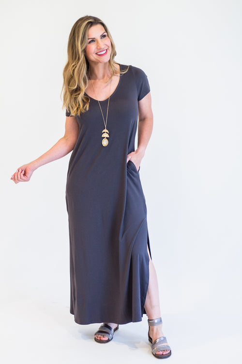 Titanium Slitted Maxi Dress