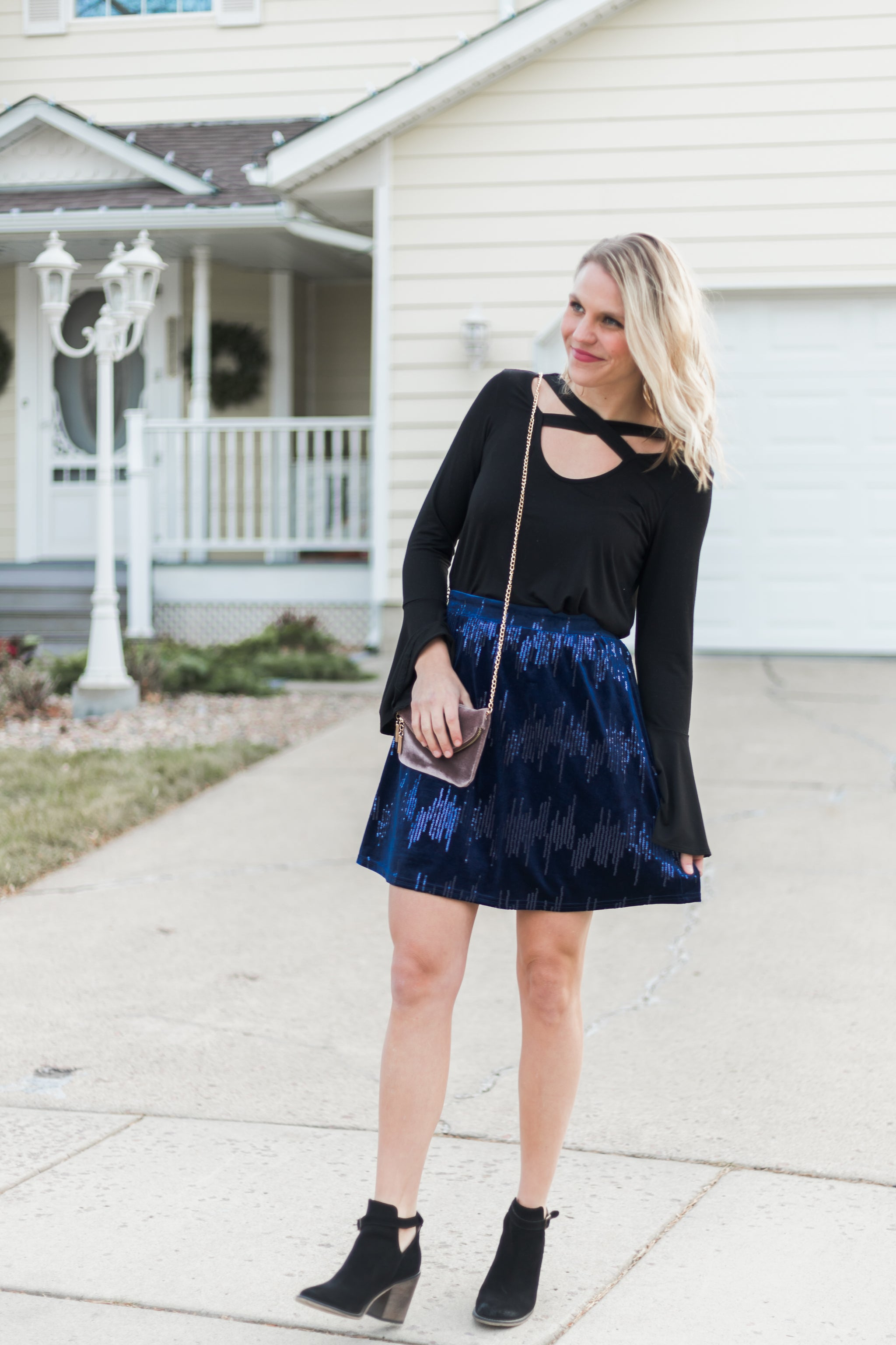 Midnight Blue Velvet Sequin Skirt
