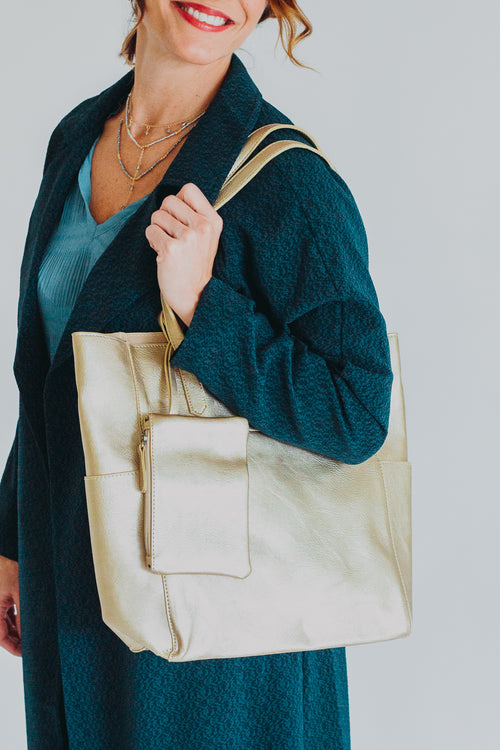 Metallic Gold Bella Tote