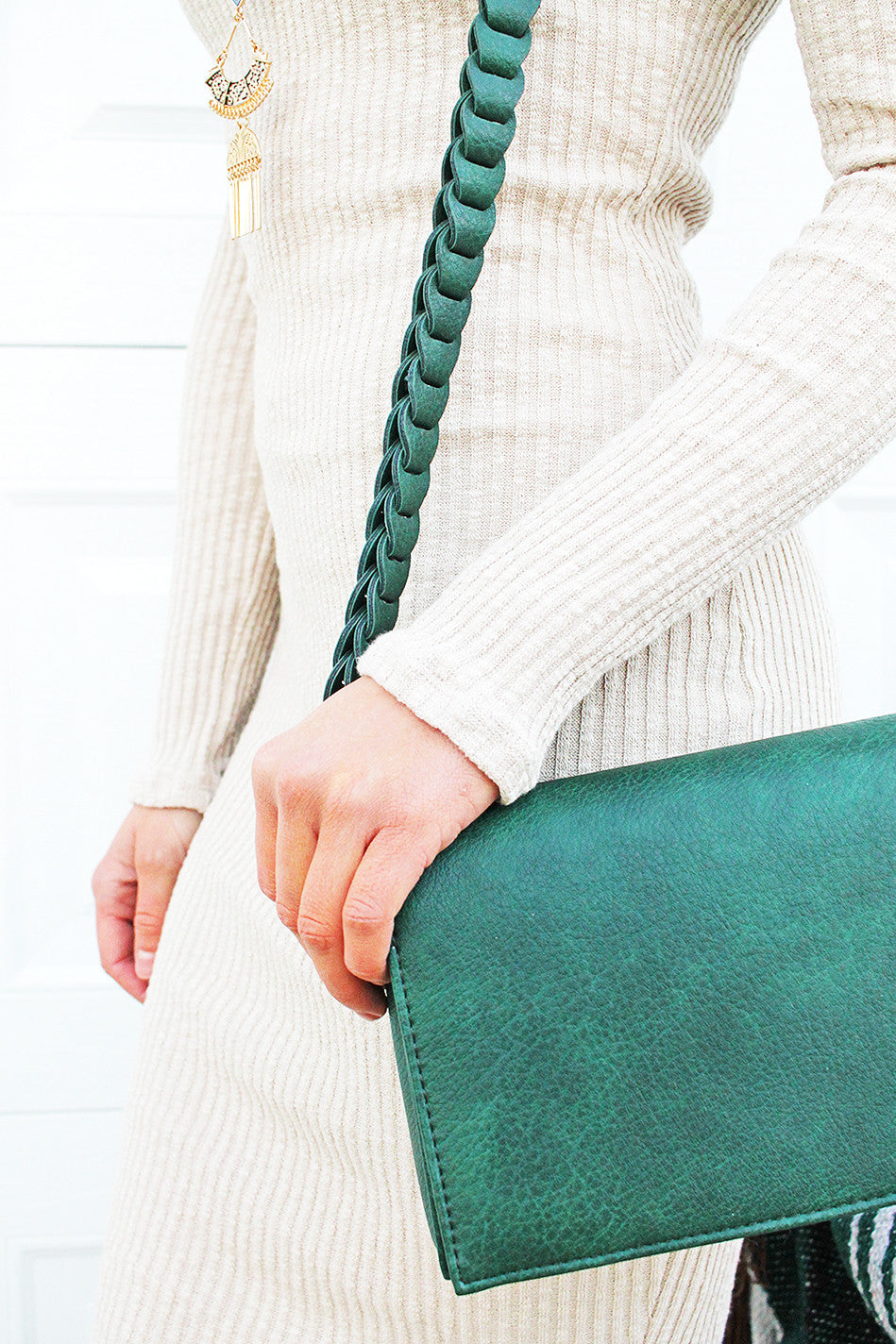 Forest Green Purse with Braided Handle