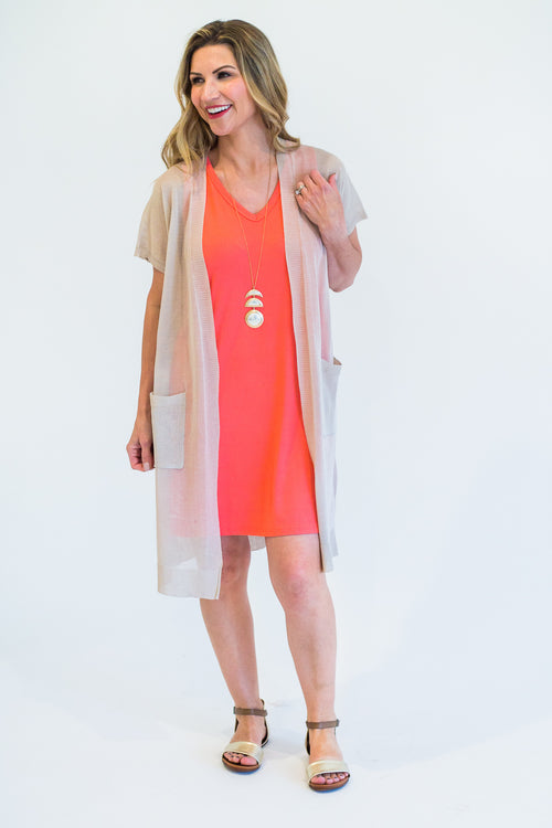 Coral V-Neck Pocketed Knit Dress