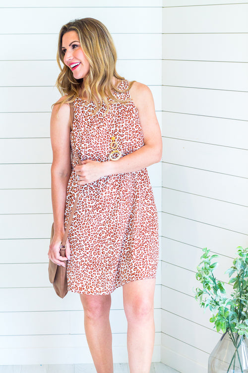 Leopard Racer Back Shift Dress