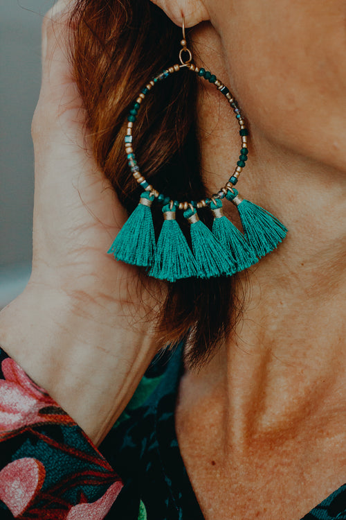 Teal Green Beads & Tassel Earring