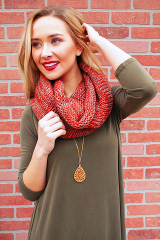 Rust Marbled Cable Infinity Scarf