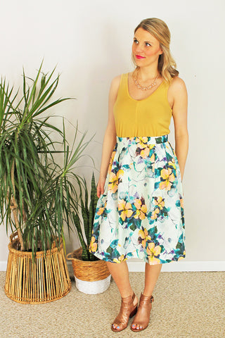 Refreshing Mint Floral Skirt