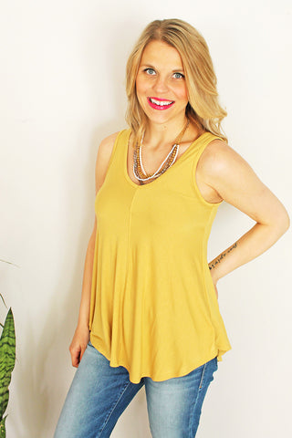 Solid Mustard V-Neck Top