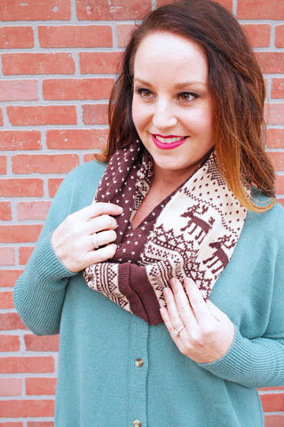 Infinity Scarf with Deer Print