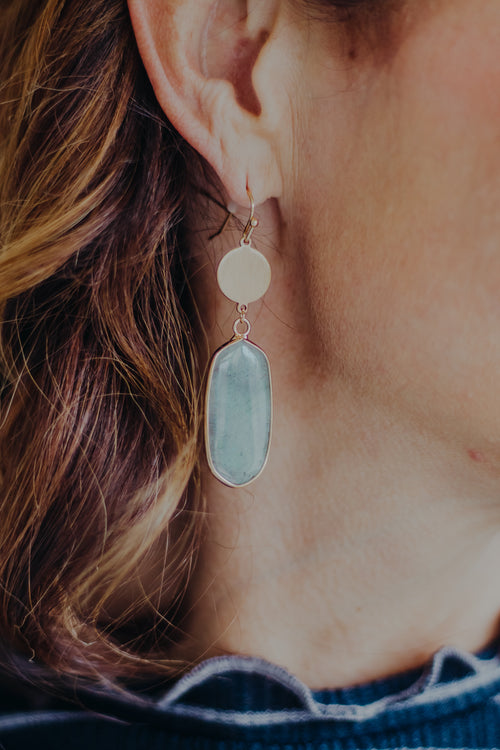 Gray Sparkle Stone Earring