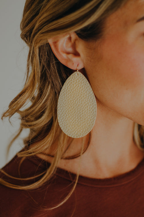 Leather Teardrop Earrings *Gold