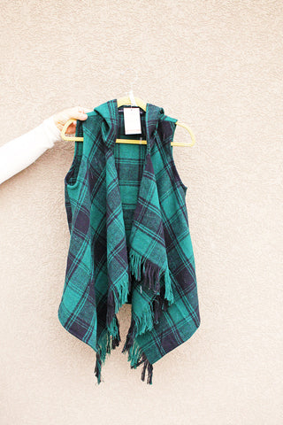 Hunter Green Fringe Plaid Vest