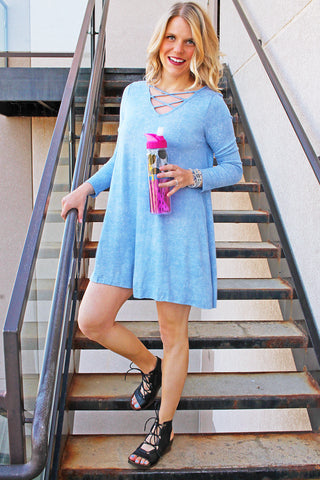 Blue Long Sleeve Jersey Dress