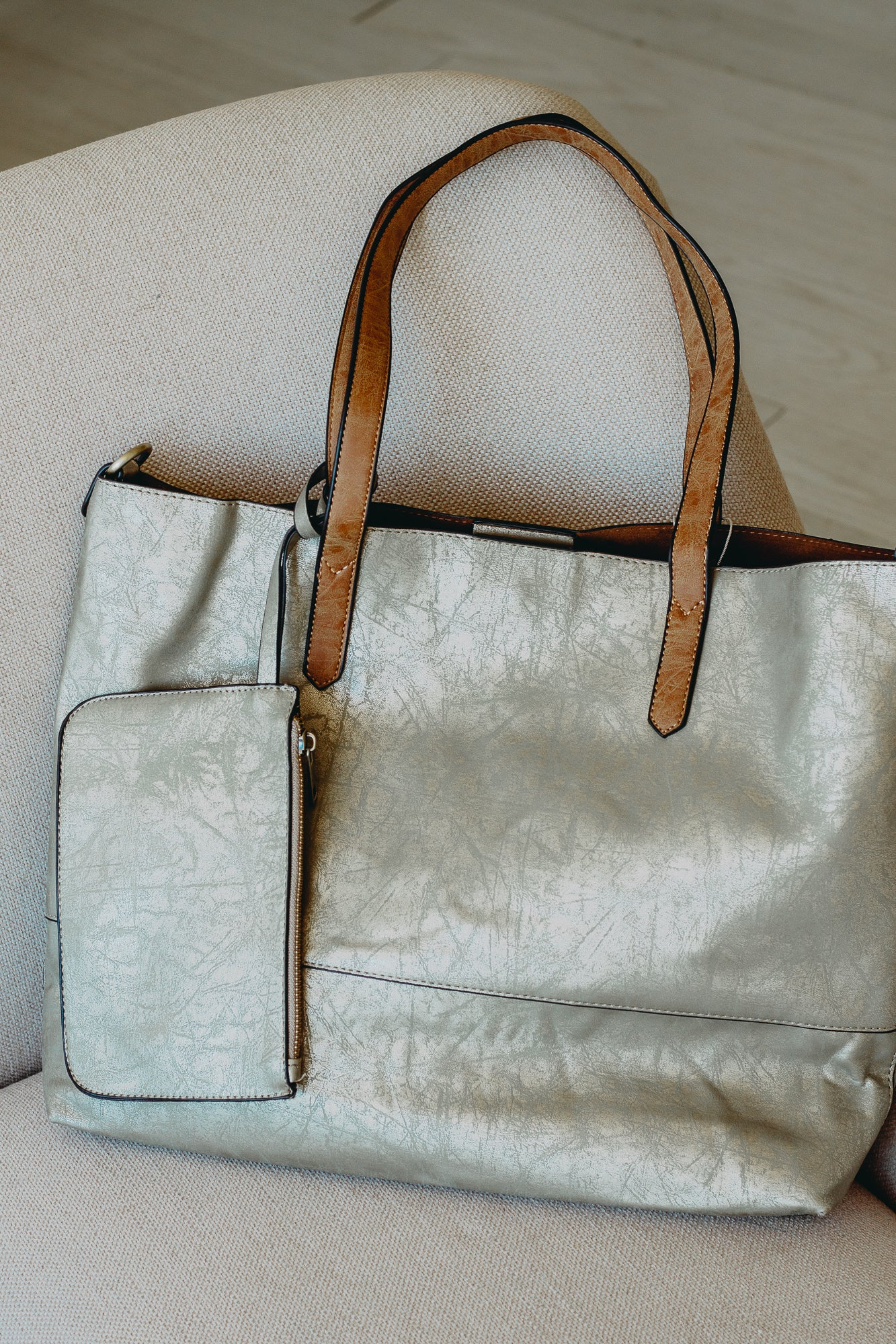 Brushed Metallic Light Gold Tote
