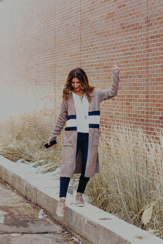 Mystree Stripe Fuzzy Sweater
