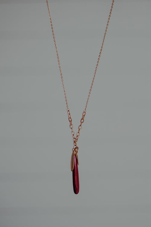 Burgundy Stone Trio Necklace