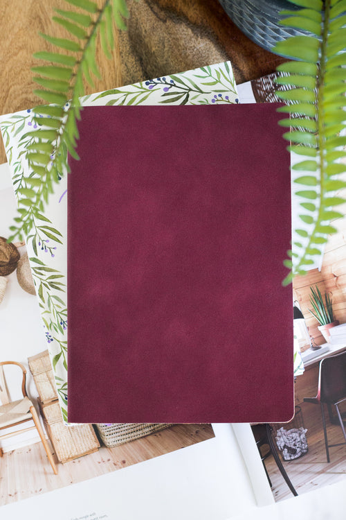 Burgundy Vegan Suede Journal