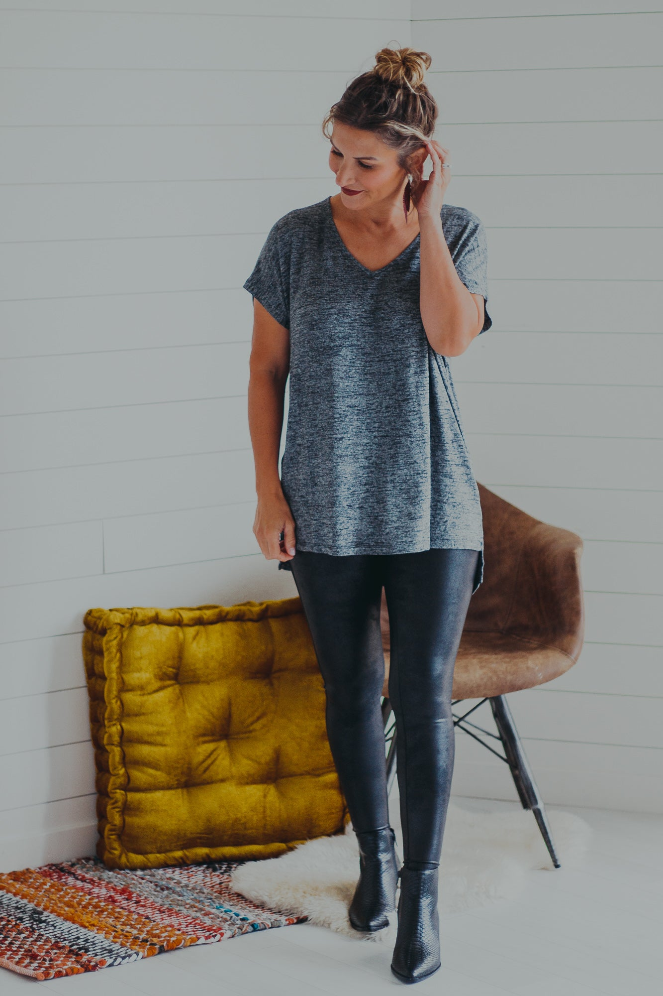 Jodie Heathered V-Neck Tee