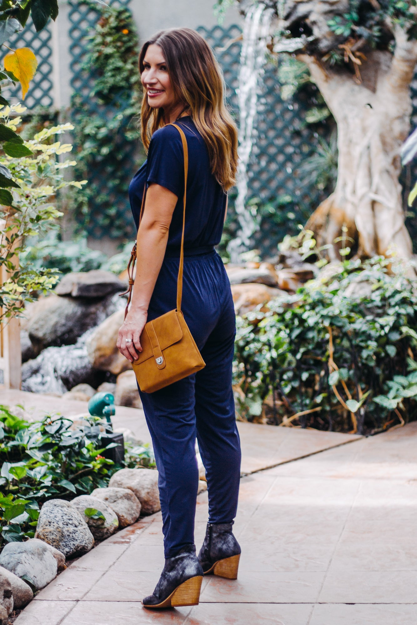 Veronica M Navy Ity Jumpsuit