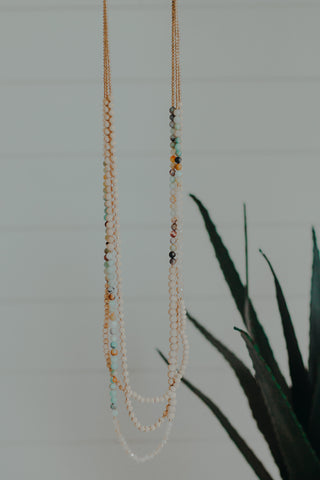 Turquoise & Gold Tiki Necklace
