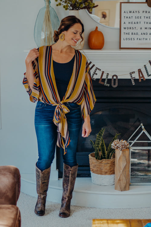 Equinox Striped Wrap Top