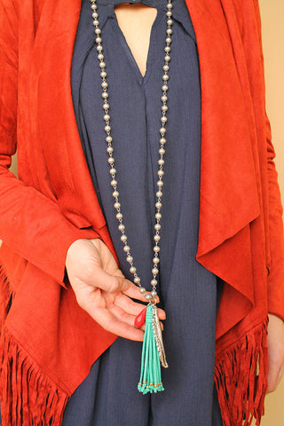 Mirage Beaded Tassel Necklace