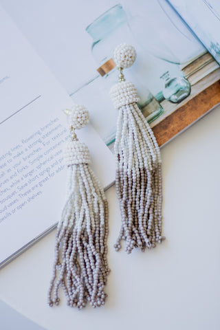 White Metallic Feather Earring