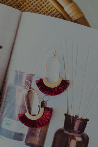 Leather Teardrop Earrings *Brown