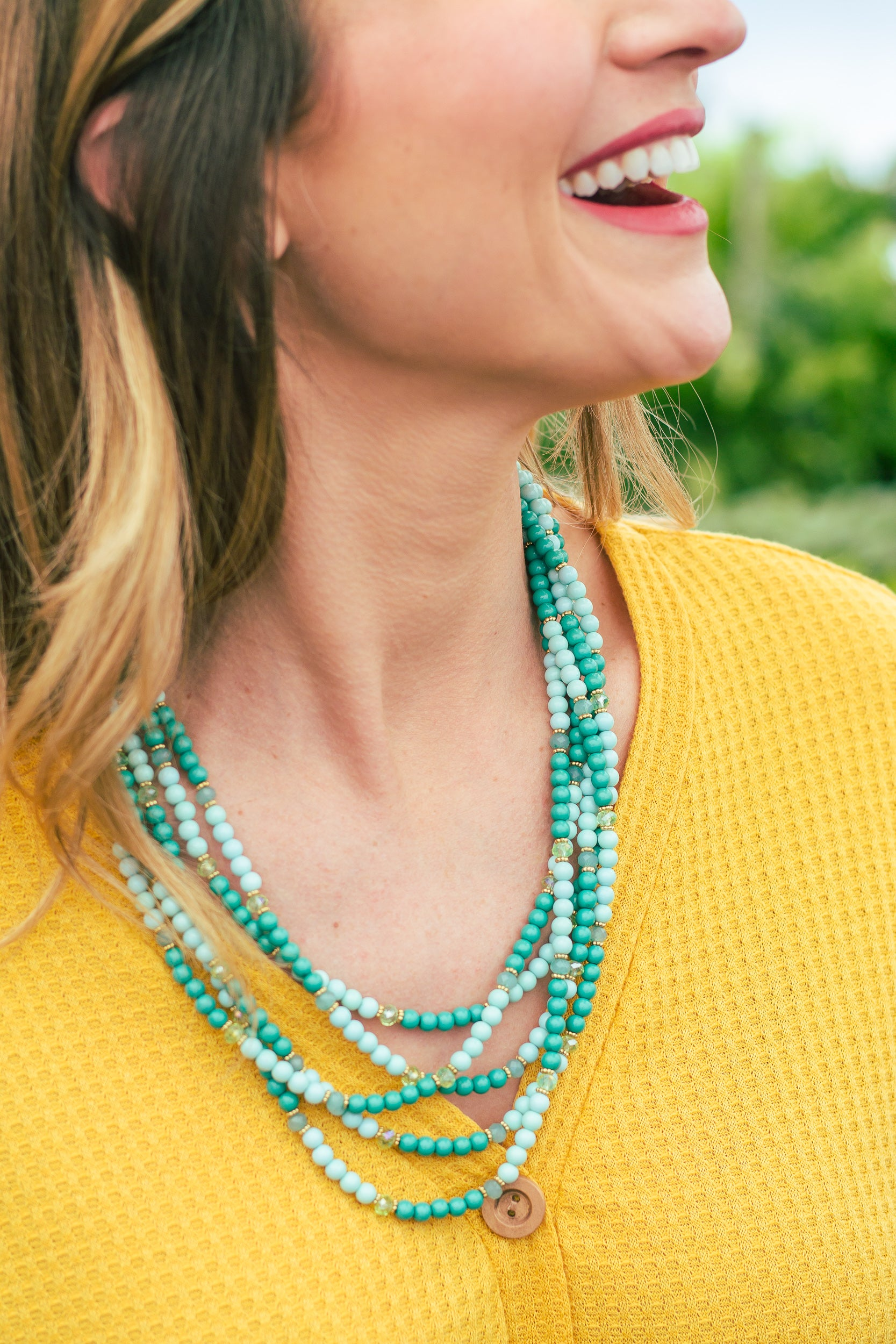 Teal & Mint Beaded Necklace