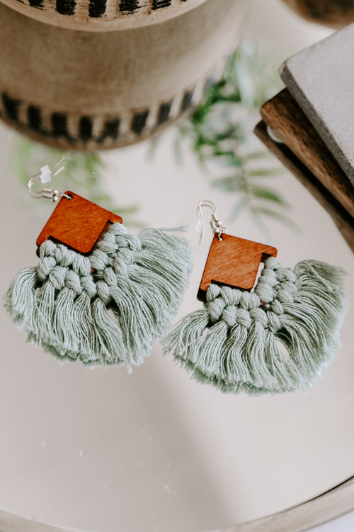 Wood Rhombus Tassel Earring