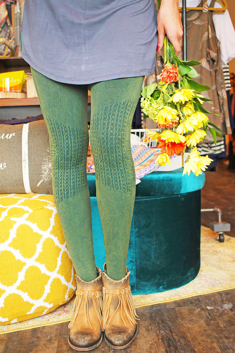 Vintage Shirring Knee Legging
