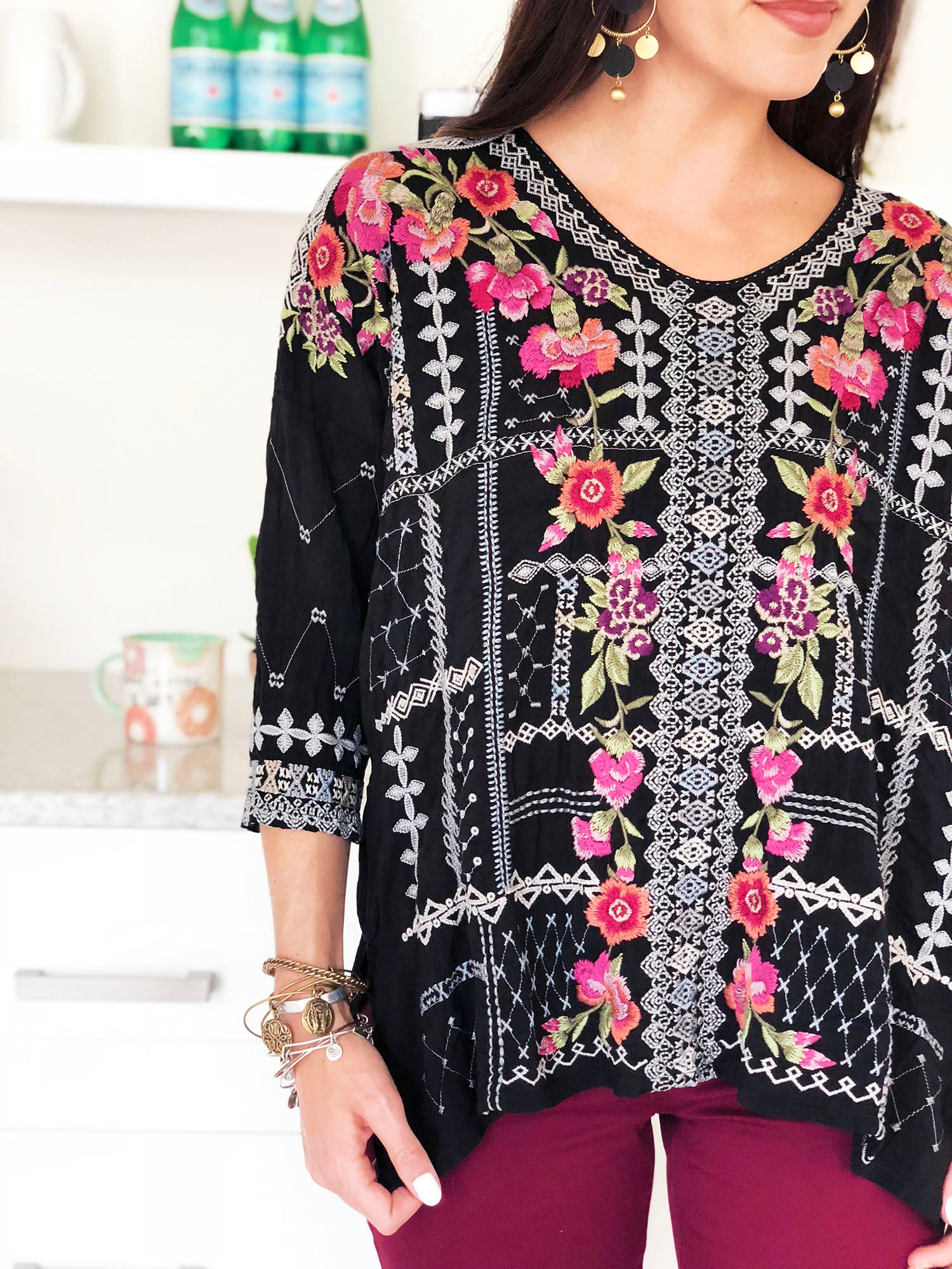 Johnny Was Black Carnation Blouse