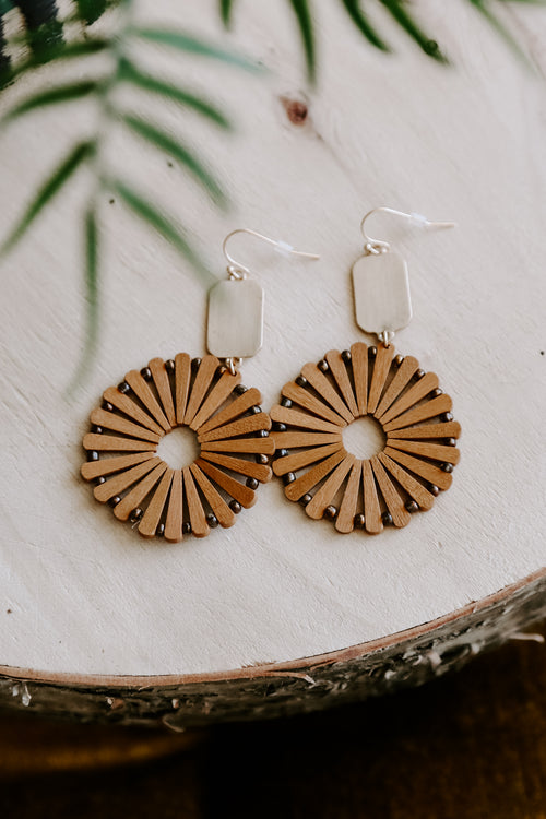 Wood Circle Earring