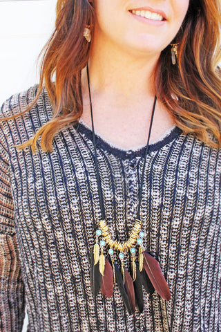 Feather Dangle Necklace
