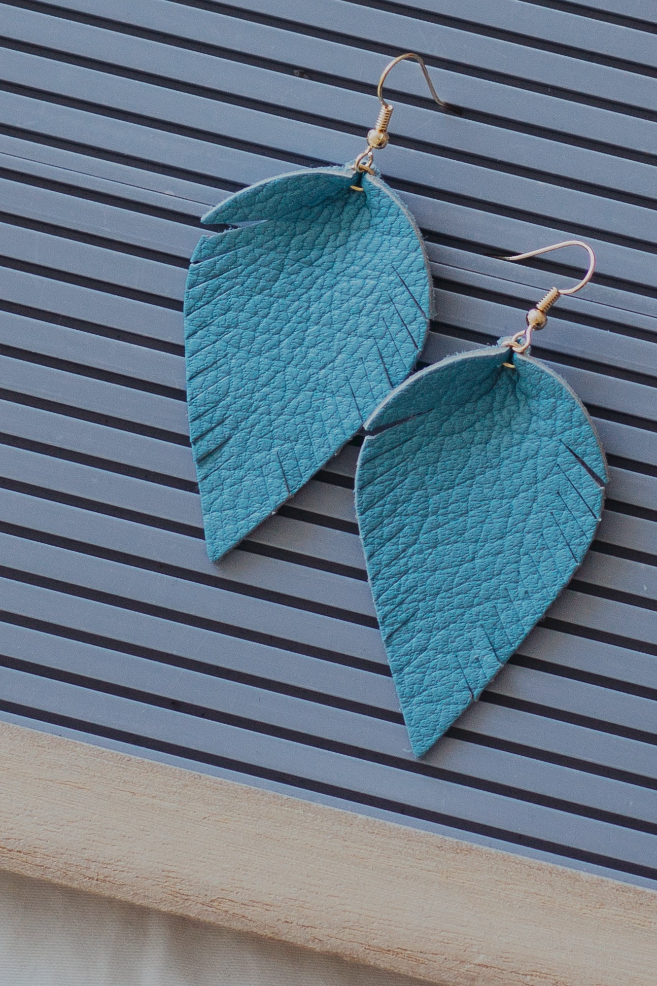 Leather Feather Earrings *Light Blue