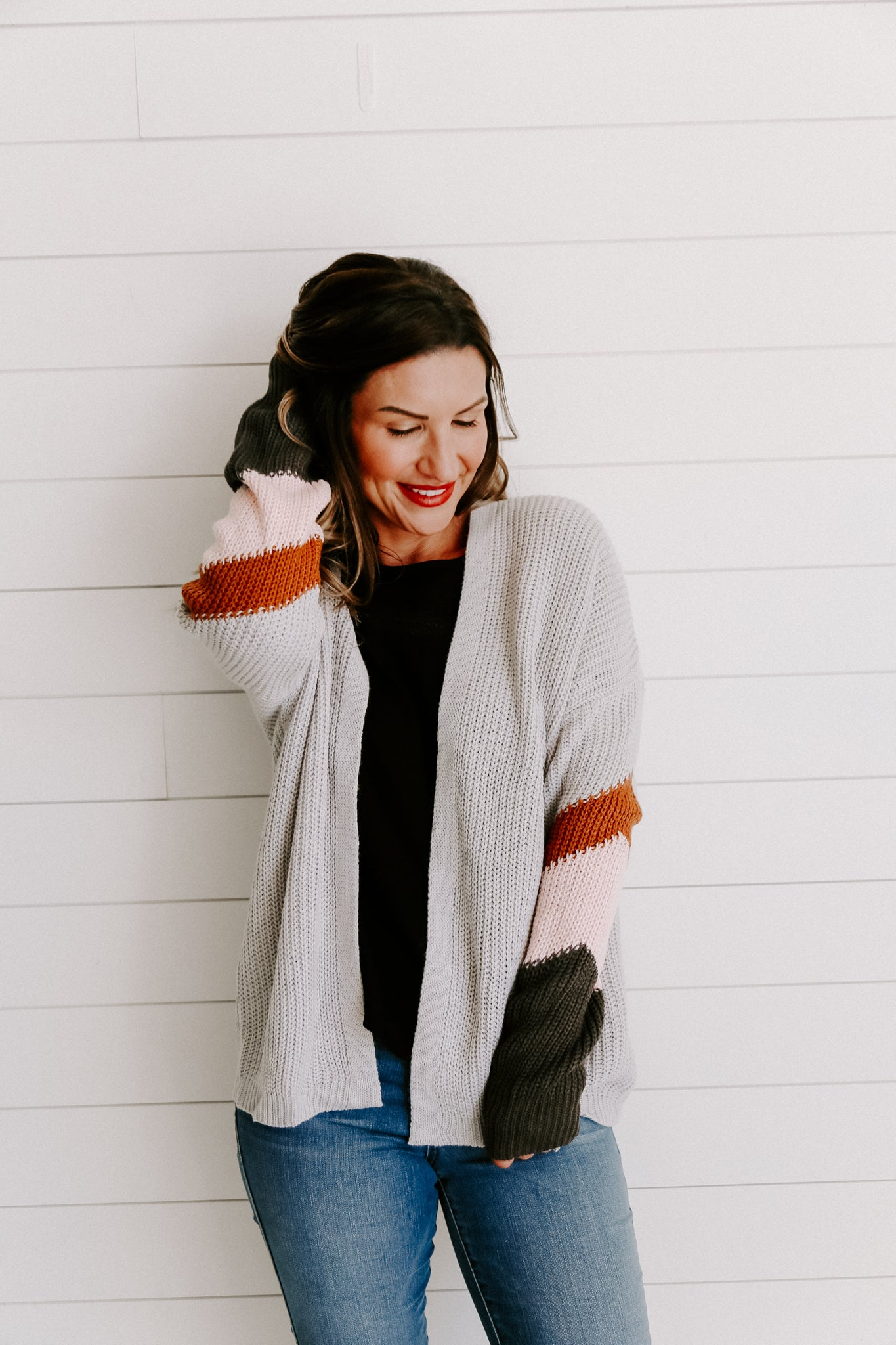 Color Block Belted Sweater