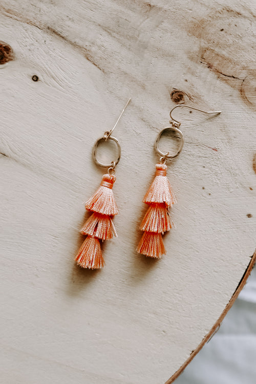 Peach Circle & Layer Tassel Earring